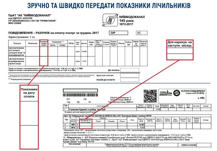 peredat pokazniki lichilnika kiivvodokanal - Киевводоканал. Передать показания счётчиков.