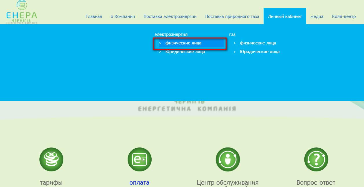 Lichnyj kabinet Enera Chernigov - Энера Чернигов. Передать показания счётчика.