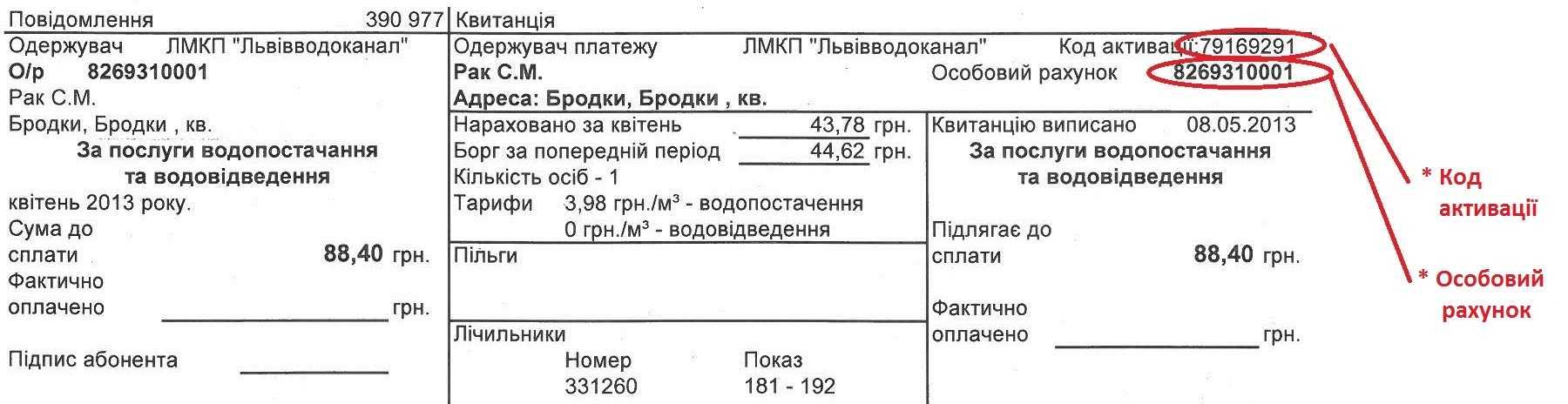 kvitanciya Lvovodokanal - Львовводоканал. Как зарегистрироваться в личном кабинете.